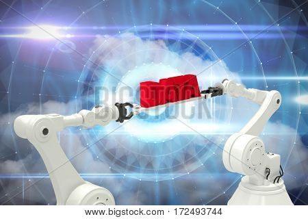 White robotic hands holding red data message against white background against blue technology design with tunnel