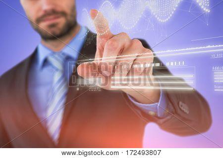 Businessman using imaginative digital screen against helix diagram of dna
