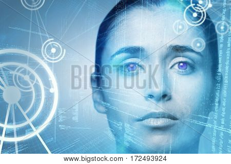 Portrait of woman with brown eyes against binary codes and lines