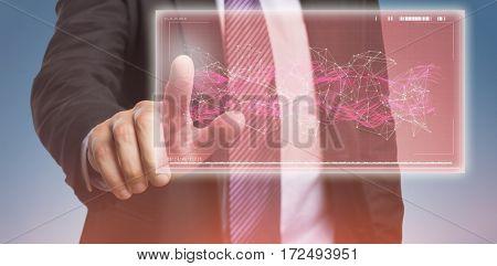 Businessman pointing against white background against purple vignette
