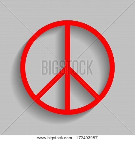 Peace sign illustration. Vector. Red icon with soft shadow on gray background.