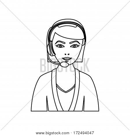 figurepeople woman technological services icon, vector illustration design