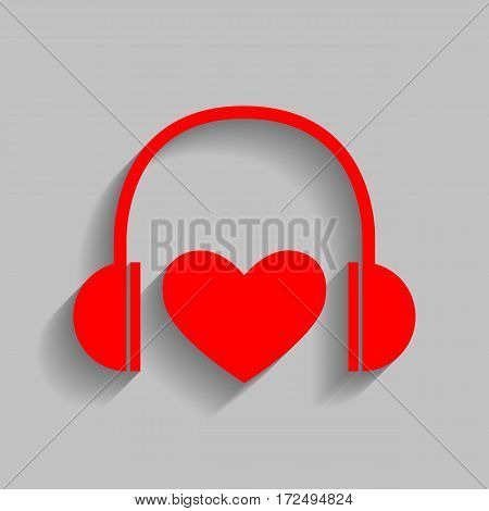 Headphones with heart. Vector. Red icon with soft shadow on gray background.