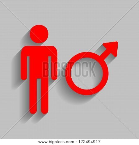 Male sign illustration. Vector. Red icon with soft shadow on gray background.