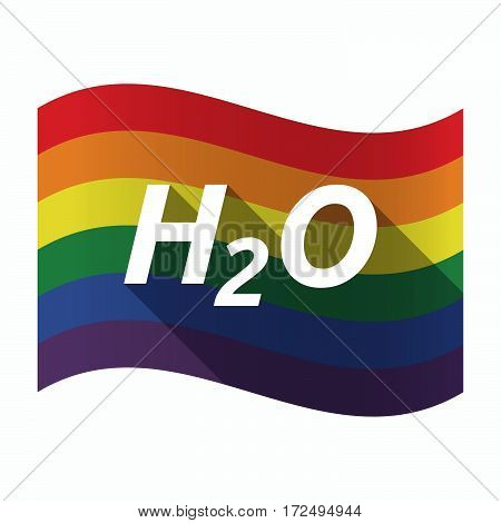 Isolated Gay Pride Flag With    The Text H2O