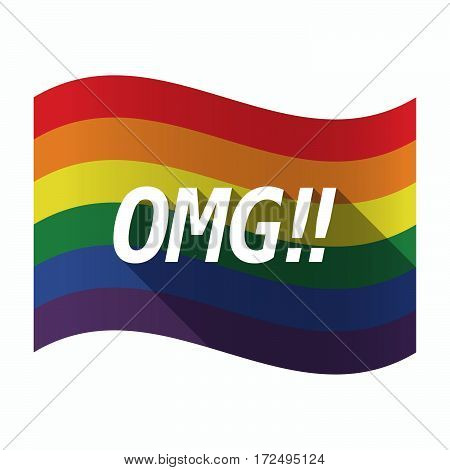 Isolated Gay Pride Flag With    The Text Omg!!