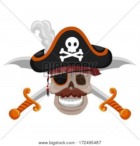 Vector Illustration of Pirate Skull with Sword