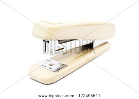 White Stapler isolated office and education tool