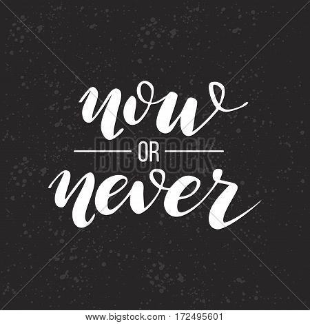 Now or never Lettering. Vector illustration. graphics for t-shirts