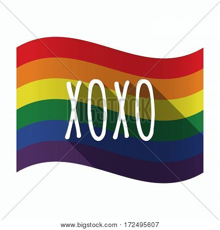 Isolated Gay Pride Flag With    The Text Xoxo