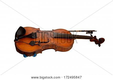 Violin and bow isolated on white background. Musical stringed instrument for musical performance. Classical orchestral music.