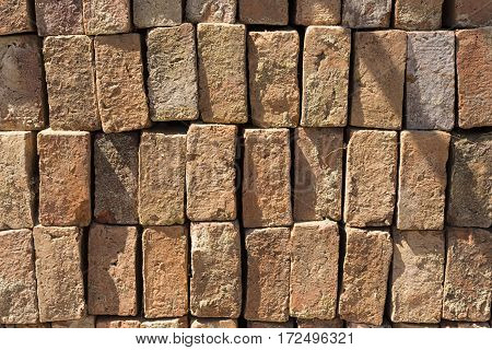 Brown Brick Stack wait for construction outdoor