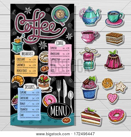 Coffee restaurant brochure vector, coffee shop menu design, sketch style. Coffee, desserts, tea, breakfast, cakes, donut. Lettering cup logo. Hand drawn vector