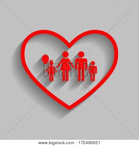 Family sign illustration in heart shape. Vector. Red icon with soft shadow on gray background.