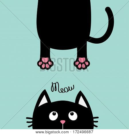 Black cat looking up. Funny face head silhouette. Meow text. Hanging fat body paw print tail. Kawaii animal. Baby card. Cute cartoon character. Pet collection. Flat. Blue background. Isolated. Vector