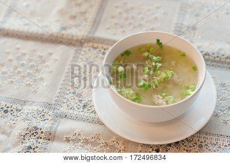 Boiled Pork Rice Or Mush For Breakfast