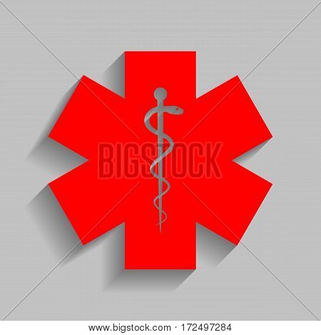 Medical symbol of the Emergency or Star of Life. Vector. Red icon with soft shadow on gray background.