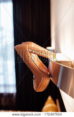 Beautiful Bridal Beige Shoes Hang On The Wall Lamp