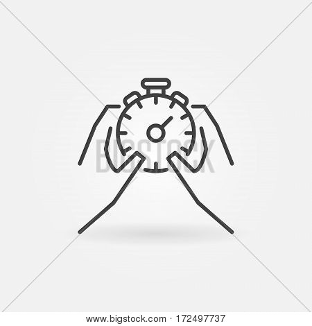 Hands holding stopwatch icon. Vector thin line stopwatch and time management concept symbol or logo element