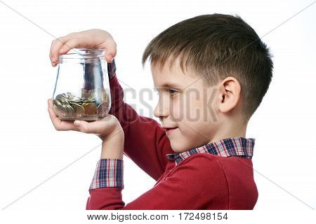 Beautiful Little Boy With Glass Jar Of Coins Isolated