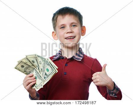 Happy Boy With Dollars And Thumbs Up Gesture Isolated