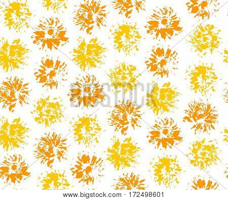 Seamless pattern with imprints of dandelions. Vector illustration.