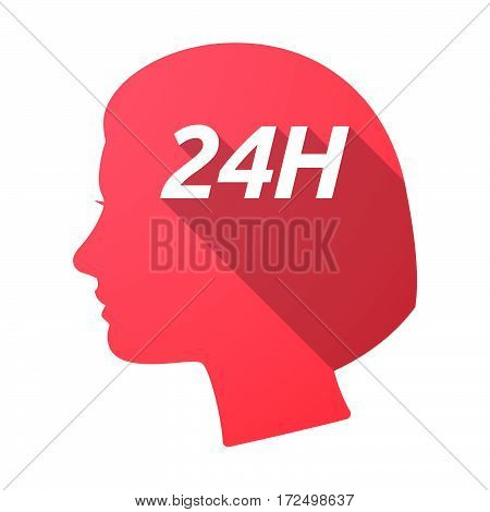 Isolated Female Head With    The Text 24H
