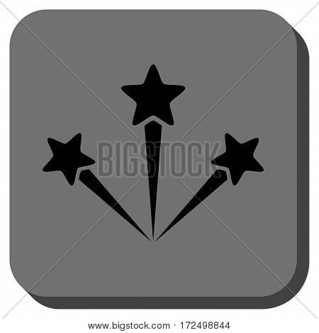 Festive Fireworks rounded icon. Vector pictograph style is a flat symbol centered in a rounded square button black and gray colors.