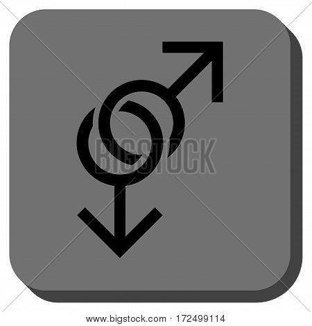 Gay Love Symbol interface button. Vector pictogram style is a flat symbol in a rounded square button black and gray colors.