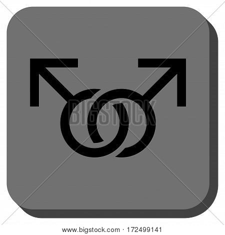 Gay Love Symbol interface toolbar icon. Vector pictogram style is a flat symbol on a rounded square button black and gray colors.