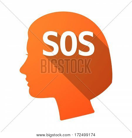 Isolated Female Head With    The Text Sos