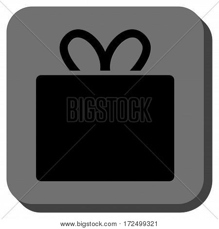 Gift rounded icon. Vector pictograph style is a flat symbol on a rounded square button black and gray colors.