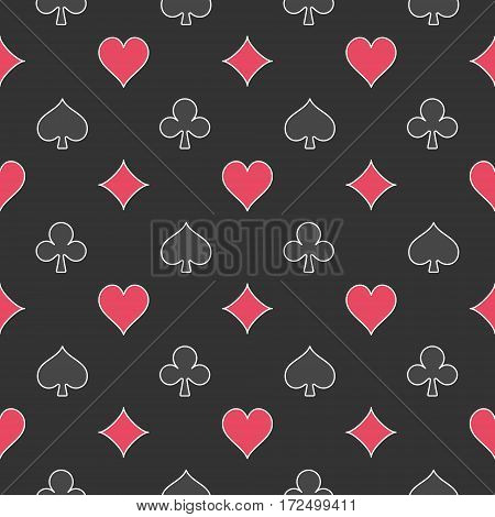 Card suits dark pattern. Vector seamless texture made with hearts, diamonds, spades, clubs signs on dark background