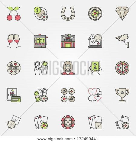 Colorful casino icons set. Vector collection of gambling poker and casino creative signs