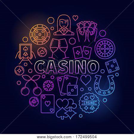 Colorful casino round illustration. Vector circular sign made with chips, cards, roulette and other gambling icons on dark blue background