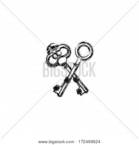 contour old keys icon stock, vector illustration image design