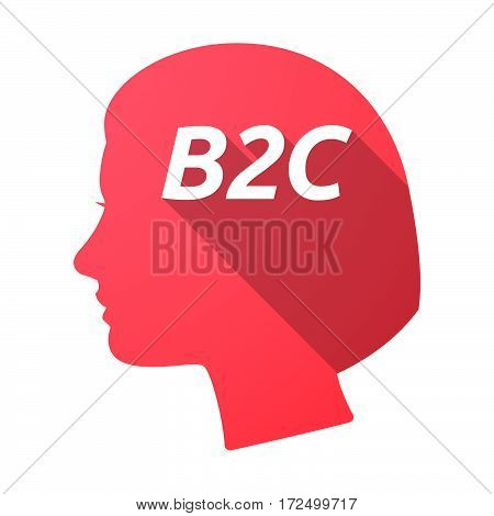 Isolated Female Head With    The Text B2C