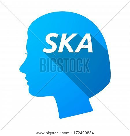 Isolated Female Head With    The Text Ska