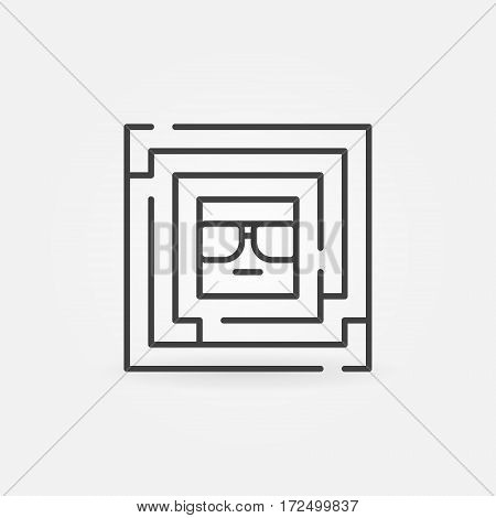 Square labyrinth with face inside - vector geek concept symbol or logo element in thin line style