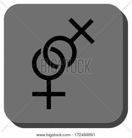 Lesbian Love Symbol interface icon. Vector pictograph style is a flat symbol on a rounded square button black and gray colors.