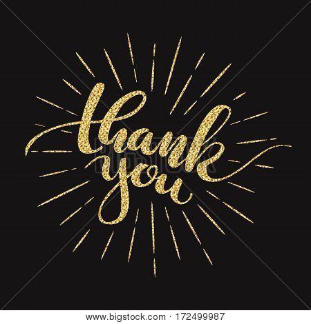 Thank you. Lettering. Vector illustration Golden glitter effect isolated on black background