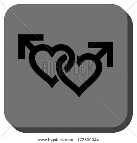 Linked Gay Hearts square icon. Vector pictogram style is a flat symbol centered in a rounded square button black and gray colors.