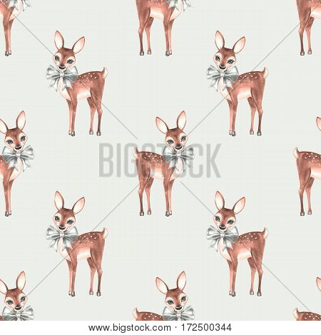 Pattern with Baby Deer. Hand drawn cute fawn on paper background. Seamless background 1