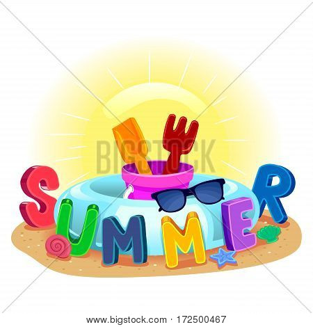 Vector Illustration of Colorful Beach Summer Elements