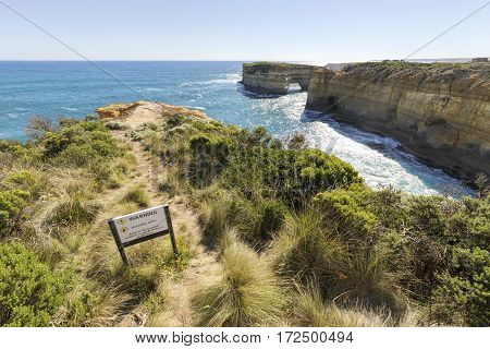The Loch Ard Gorge is part of Port Campbell National Park, Victoria, Australia, about three minutes' drive west of The Twelve Apostles.