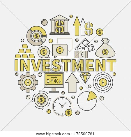 Financial investments round illustration - vector colorful business and finance symbol made with icons and word investment