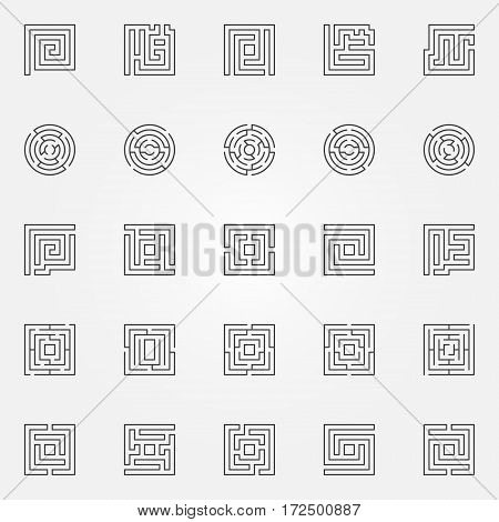 Maze outline icons set. Vector round and square labyrinth concept symbols or logo elements in thin line style