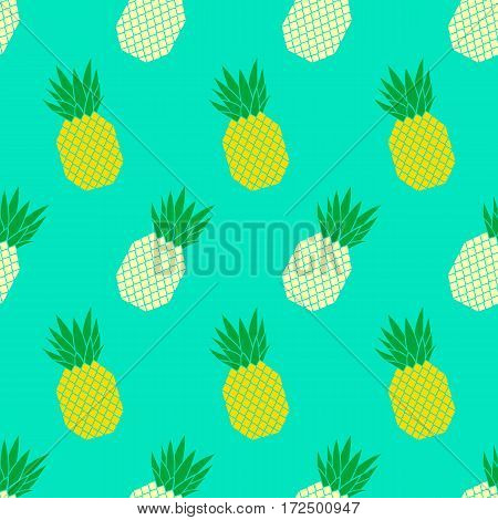 Vector background seamless pattern with color pineapples