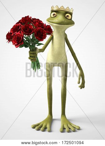 3D rendering of a smiling romantic cartoon frog prince holding a bouquet of red roses. White background.