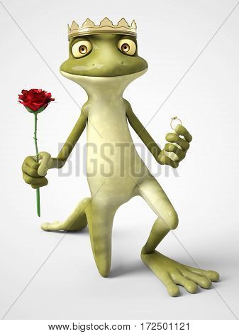 3D rendering of a smiling romantic cartoon frog prince holding a red rose in one hand and a ring in the other. He is down on one knee to propose. White background.